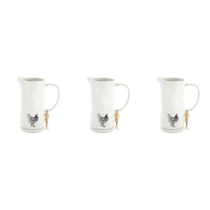 White and Black Four-Inch Chicken Pitcher, Set of 3