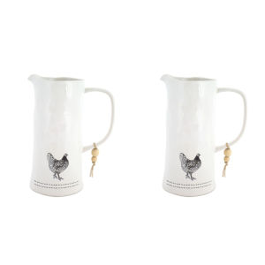 White and Black Five-Inch Chicken Pitcher, Set of 2