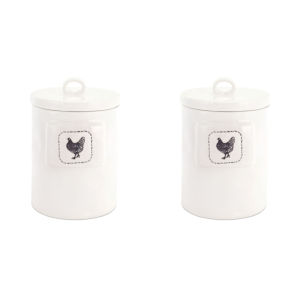 White and Black Six-Inch Chicken Canister, Set of 2