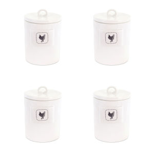 White and Black Five-Inch Chicken Canister, Set of 4