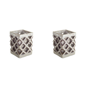 Gray and Brown Five-Inch Candle Holder, Set of 2
