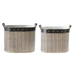 Brown and Copper 12-Inch Oval Basket, Set of 2
