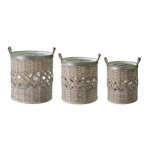 Brown and White 14-Inch Basket, Set of 2