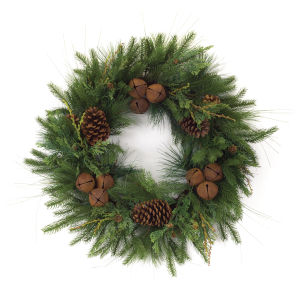 Green and Brown Pine with Cones Wreath