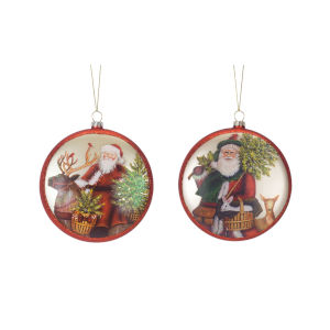 Santa Disc Ornaments, Set of 6