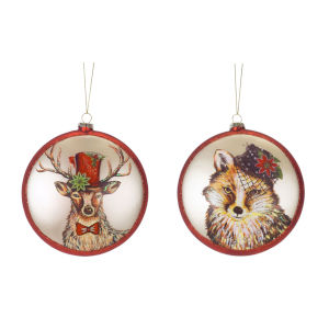 Deer and Fox Disc Ornaments, Set of 6