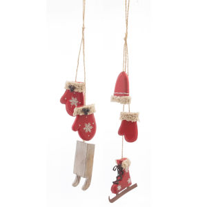 Mitton Sled and Skate Ornaments, Set of 12
