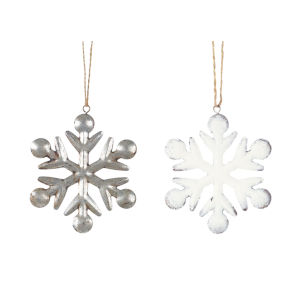 White and Silver Snowflake Ornaments, Set of 24