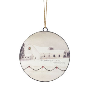 Holiday Farm Scene Disc Ornaments, Set of 12