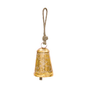 Gold and Brown Bell with Snowflake (Set of 6