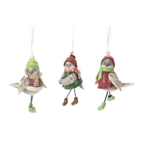 Holiday Snow Bird Ornaments, Set of 6