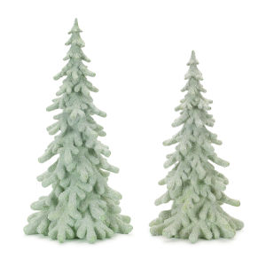 Green and White Table Top Tree, Set of 2