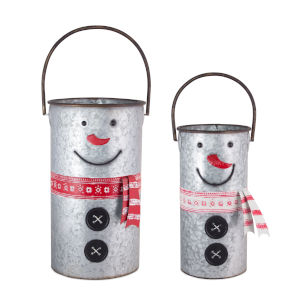 Tan and Red Snowman Pail, Set of 2
