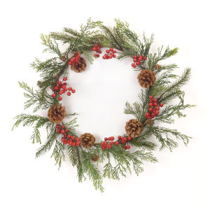 Green and Red Pine Berry Wreath