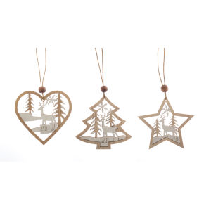 Brown and White Ornament Cut-Out, Set of 18