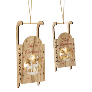 LED Lighted Sled Cut-Out Ornament, Set of 6