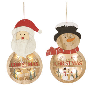 Multicolor Santa and Snowman Ornament, Set of 6