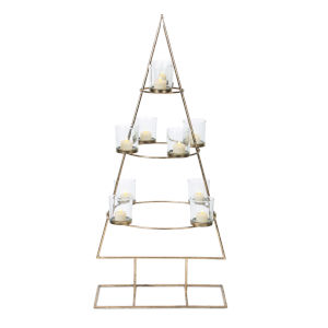 Gold and Clear Christmas Tree Form Votive Holder
