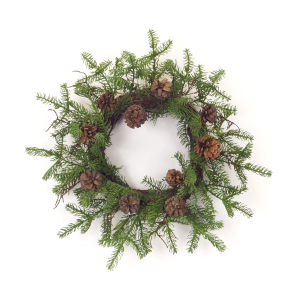 Green and Brown Pine Twig Wreath, Set of 2