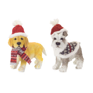Yellow and Gray Dogs with Holiday Hat, Set of 2