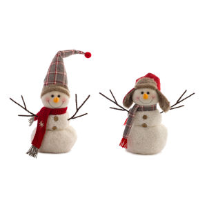 White and Red Whimsical Snowman, Set of 2