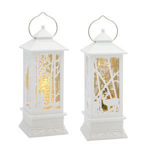 White and Green 12-Inch Lantern Snow Globe Timer, Set of 2