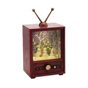 Red and Green 9-Inch Snowman and Tree Television Snow Globe Timer and Music