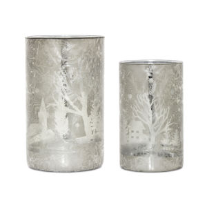 Silver and White Tree and House Votive Holder, Set of 2