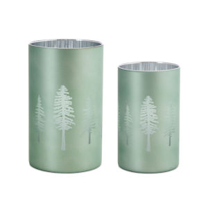 Green and Silver 8-Inch Tree Votive Holder, Set of 2
