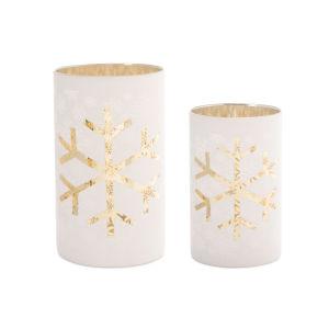 Gold and White Snowflake Votive Holder, Set of 2