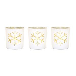 White and Gold Snowflake Tea Light Holder, Set of 3