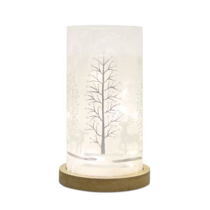 White and Silver 12-Inch Deer and Tree LED Light Timer