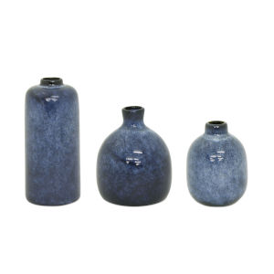 Blue and Black Mini Vase, Set of 3