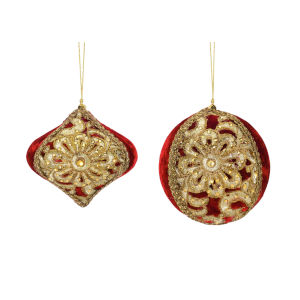 Red and Gold Ornament, Set of 4