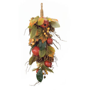 Green and Red Pomegranate Fall Leaf Swag, Set of 2