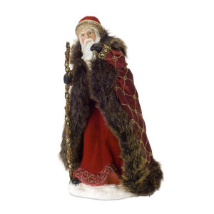 Burgundy and Brown Santa Figurine