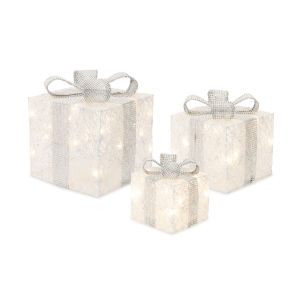 White and Silver Package with Light and Timer, Set of 3