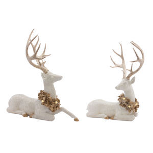 White and Gold Deer with Six Hour Timer, Set of 2