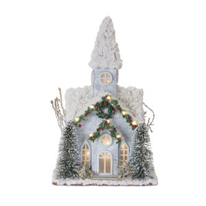 LED Holiday Church with Trees and Garland