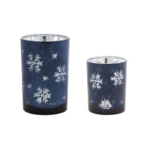 Blue and Silver Candle Holder, Set of 2