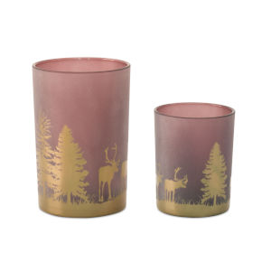 Red and Gold Candle Holder, Set of 2