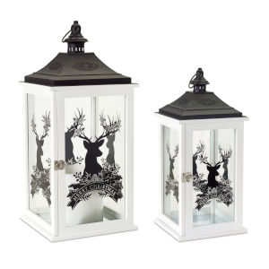 White and Black Merry Christmas Lantern, Set of 2