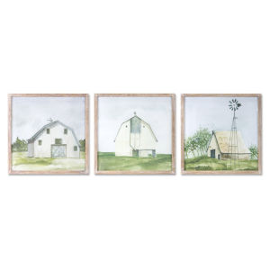 Blue and Green Barn Print Wall Decor, Set of 3