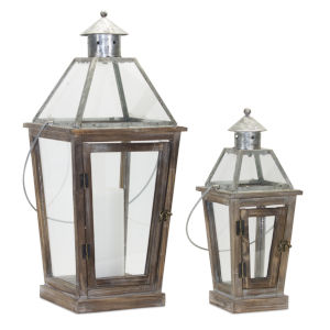 Brown and Silver Lantern, Set of 2