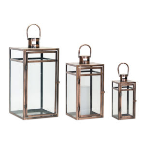 Copper and Black 10-Inch Lantern, Set of 3