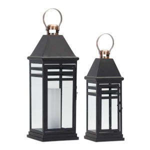 Black and Copper Seven-Inch Lantern, Set of 2