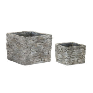 Stone and Concrete Square Pot, Set of 4