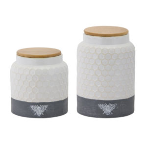 Grey and White Canister, Set of 2