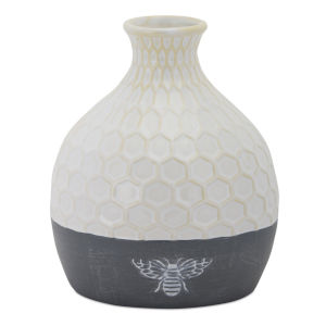 White and Grey Vase with Bee, Set of 2