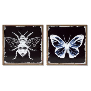 Black and White Framed Bee and Butterfly Print Wall Decor, Set of 2